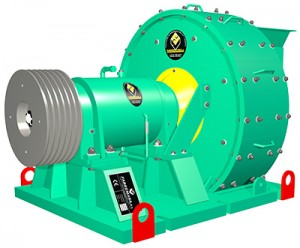 Industrial centrifugal crusher for minning, designed to obtain fine powders, sand and gravels.